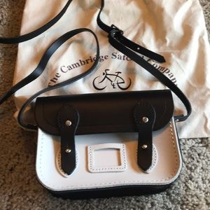 Black and white leather satchel